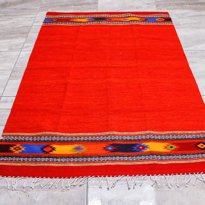 Zapotec wool area rug, 'Red Stars' (4x6.5) - Zapotec Bright Red Wool Rug Hand Loomed in Oaxaca (4x6.5)