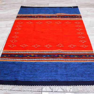 Zapotec wool area rug, 'Oaxacan Seas' (4x6.5) - Blue and Red Zapotec Area Rug (4x6.5)