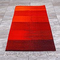 Wool area rug, 'Heat Wave' (2.5x5)