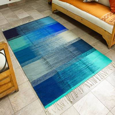 Wool area rug, 'Waves' (4x6.5) - All Wool Area Rug in Blue Shades (4x6.5)