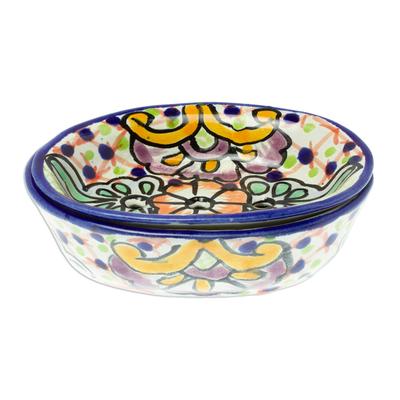 Talavera-Style Ceramic Soap Dish from Mexico