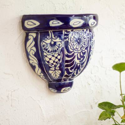 Ceramic wall planter, Guanajuato Blues