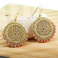 Beaded crocheted dangle earrings, 'Golden Round in Coral' - Beaded Crocheted Dangle Earrings from Mexico