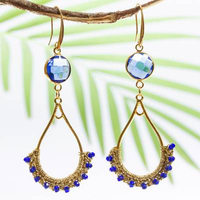 Beaded crocheted dangle earrings, 'Gold and Blue' - Gold Plated Brass and Crystal Bead Earrings