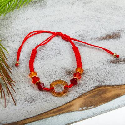 Crystal beaded macrame bracelet, 'Sunrise Glow' - Red Macrame Bracelet with Swarovski Crystals