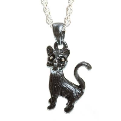 Artisan Crafted Cat Necklace in Sterling Silver