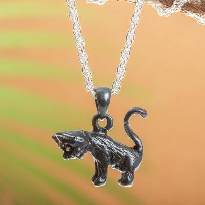 Sterling silver pendant necklace, 'Curious Cat' - Handmade Sterling Silver Cat Necklace
