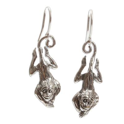 Cute Sterling Silver Monkey Earrings