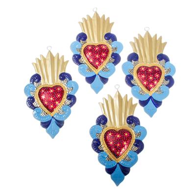 Blue Flaming Heart Ornaments (Set of 4)