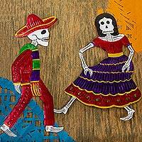 Tin wall art, 'Red Skeleton Dancers' (pair) - Red Tin Repousse Mexican Skeleton Wall Art (Pair)