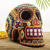 Beaded skull, 'Huichol Visions' - Huichol Handcrafted Bright Beaded Skull Figurine