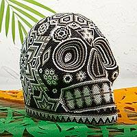 Beaded skull, 'Monochrome Jicuri' - Huichol Beaded Monochrome Peyote Skull Figurine