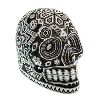Beaded skull, 'Monochrome Jicuri' - Huichol Beaded Monochrome Peyote Skull Figurine