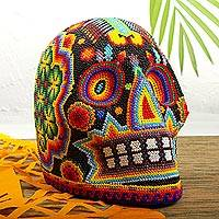 Beaded skull, 'Radiant Jicuri' - Huichol Beaded Scorpion & Peyote Skull in Bright Colors