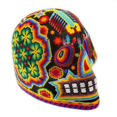 Beaded skull, 'Radiant Jicuri' - Huichol Beaded Scorpion & Peyote Skull in Bright Colors