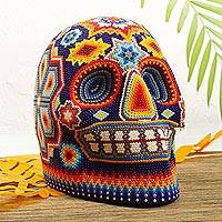 Beaded skull, 'Bright Icons' - Huichol Beaded Skull Figurine in Bright Colors