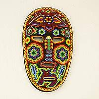 Beadwork mask, 'Huichol Protection' - Colorful Handcrafted Huichol Beadwork Mask