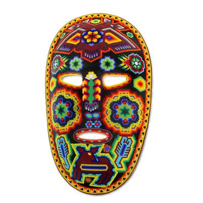 Beadwork mask, 'Huichol Protection' - Colorful Handcrafted Huichol Beadwork Mask