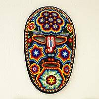 Beadwork mask, 'Jicuri Glow' - Authentic Huichol Beadwork Mask Handcrafted in Mexico