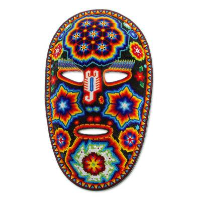 Authentic Huichol Beadwork Mask Handcrafted in Mexico