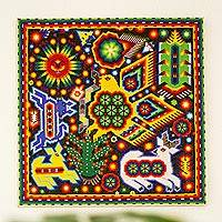 Beadwork, 'Huichol Eagle' - Huichol Beadwork Mexican Eagle Votive Painting