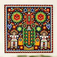 Beadwork, 'Festival of the Corn' - Huichol Corn Festival Votive Beadwork Painting