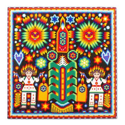 Beadwork, 'Festival of the Corn' - Huichol Corn Festival Votive Beadwork Painting