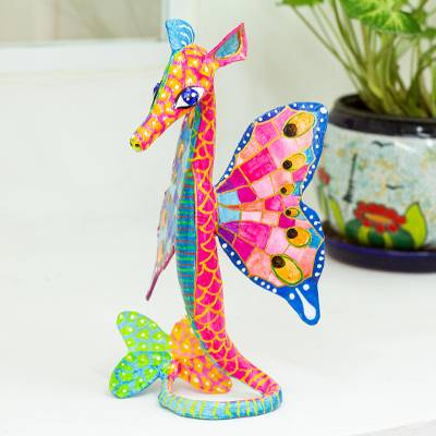 Recycled papier mache alebrije, 'Horse of the Sea' - Hand Painted Seahorse Alebrije Sculpture