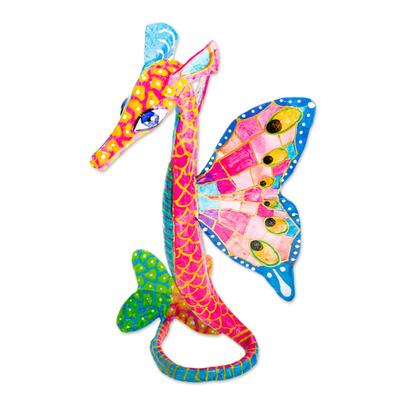 Hand Painted Seahorse Alebrije Sculpture