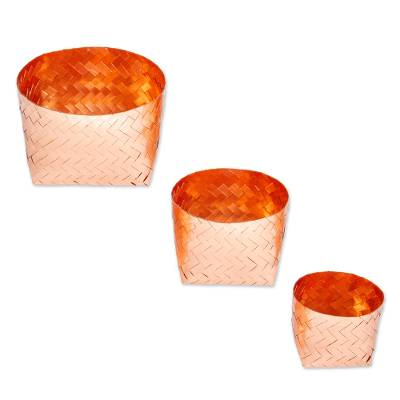 Pure Copper Woven Small Baskets (Set of 3)