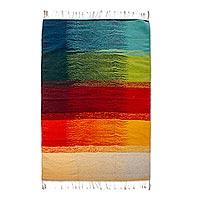 Wool area rug, 'Zapotec Spectrum' (4x6.5)