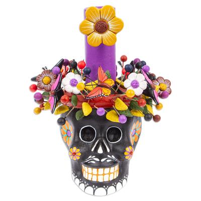 Black Floral Ceramic Skull Taper Candleholder