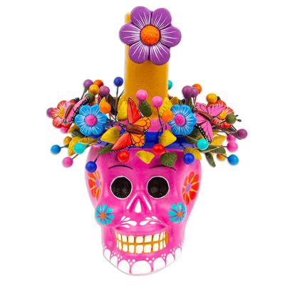 Fuchsia Floral Ceramic Skull Taper Candleholder