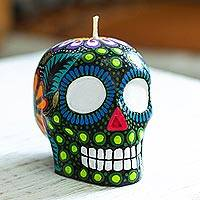 Hand-painted candle, 'Colorful Black Floral Skull' - Colorful Black Floral Mexican Day of the Dead Skull Candle