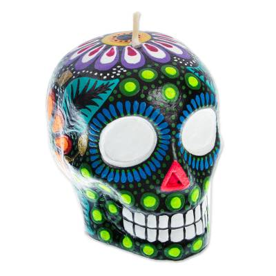Colorful Black Floral Mexican Day of the Dead Skull Candle