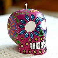 Hand-painted candle, 'Colorful Deep Rose Skull' - Deep Rose Hand Painted Mexican Day of the Dead Skull Candle