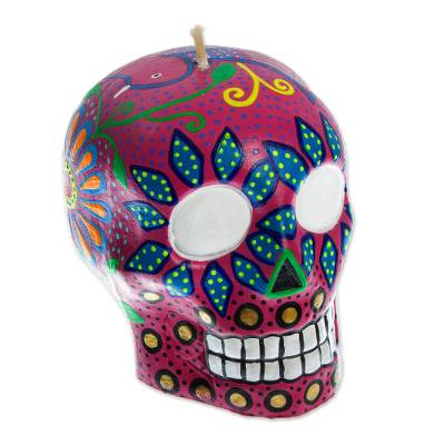 Deep Rose Hand Painted Mexican Day of the Dead Skull Candle