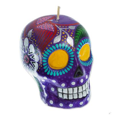 Colorful Purple Floral Mexican Day of the Dead Skull Candle