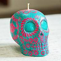 Hand-painted candle, 'Pink and Turquoise Skull' - Pink & Turquoise Mexican Day of the Dead Skull Candle