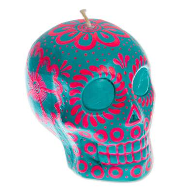Pink & Turquoise Mexican Day of the Dead Skull Candle