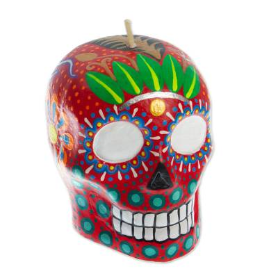 Hand Painted Mexican Day of the Dead Red Skull Candle