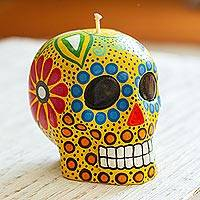 Hand-painted candle, 'Colorful Yellow Skull' - Hand Painted Mexican Day of the Dead Yellow Skull Candle