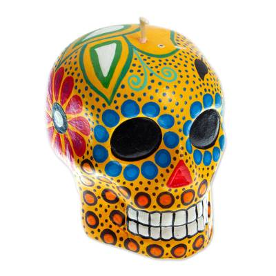 Hand Painted Mexican Day of the Dead Yellow Skull Candle