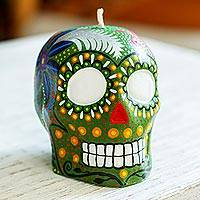 Hand-painted candle, 'Colorful Green Skull' - Hand Painted Mexican Day of the Dead Green Skull Candle