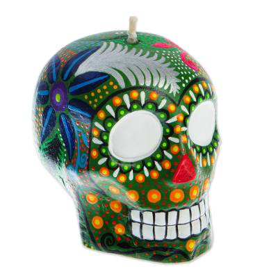Hand Painted Mexican Day of the Dead Green Skull Candle
