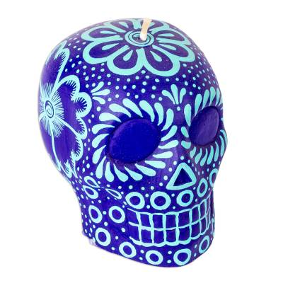 Mexican Purple and Aqua Day of the Dead Skull Candle