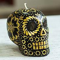 Hand-painted candle, 'Black and Yellow Skull' - Black & Yellow Mexican Day of the Dead Skull Candle