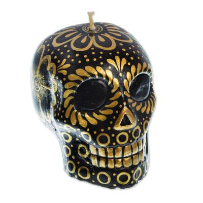Black & Yellow Mexican Day of the Dead Skull Candle