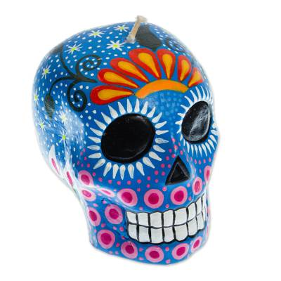 Mexican Day of the Dead Blue Skull Candle with Stars