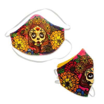 2-Layer Day of the Dead Bright Skeleton Face Masks (Pair)